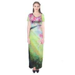 Forests Stunning Glimmer Paintings Sunlight Blooms Plants Love Seasons Traditional Art Flowers Sunsh Short Sleeve Maxi Dress