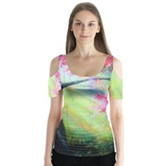 Forests Stunning Glimmer Paintings Sunlight Blooms Plants Love Seasons Traditional Art Flowers Sunsh Butterfly Sleeve Cutout Tee