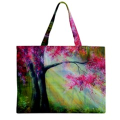 Forests Stunning Glimmer Paintings Sunlight Blooms Plants Love Seasons Traditional Art Flowers Sunsh Medium Zipper Tote Bag