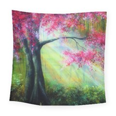 Forests Stunning Glimmer Paintings Sunlight Blooms Plants Love Seasons Traditional Art Flowers Sunsh Square Tapestry (large)
