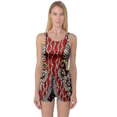 Indian Traditional Art Pattern One Piece Boyleg Swimsuit