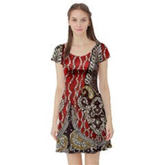 Indian Traditional Art Pattern Short Sleeve Skater Dress