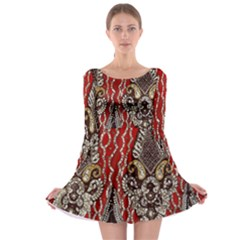 Indian Traditional Art Pattern Long Sleeve Skater Dress