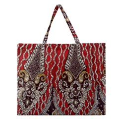Indian Traditional Art Pattern Zipper Large Tote Bag