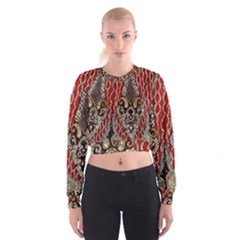 Indian Traditional Art Pattern Women s Cropped Sweatshirt