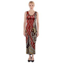 Indian Traditional Art Pattern Fitted Maxi Dress