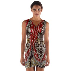 Indian Traditional Art Pattern Wrap Front Bodycon Dress