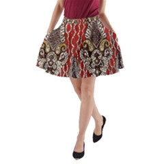 Indian Traditional Art Pattern A Line Pocket Skirt