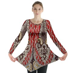 Indian Traditional Art Pattern Long Sleeve Tunic