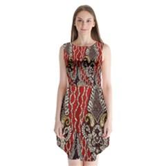 Indian Traditional Art Pattern Sleeveless Chiffon Dress