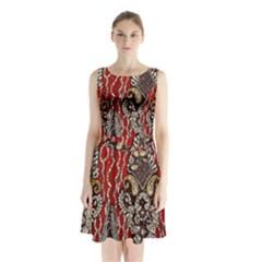Indian Traditional Art Pattern Sleeveless Chiffon Waist Tie Dress