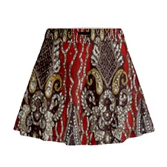 Indian Traditional Art Pattern Mini Flare Skirt