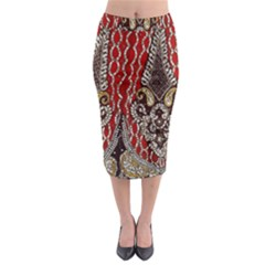 Indian Traditional Art Pattern Midi Pencil Skirt