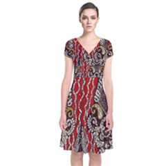Indian Traditional Art Pattern Short Sleeve Front Wrap Dress