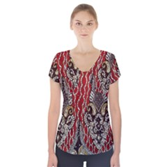Indian Traditional Art Pattern Short Sleeve Front Detail Top