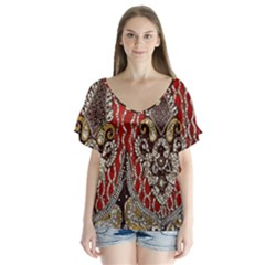 Indian Traditional Art Pattern Flutter Sleeve Top