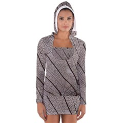 Sea Fan Coral Intricate Patterns Women s Long Sleeve Hooded T Shirt