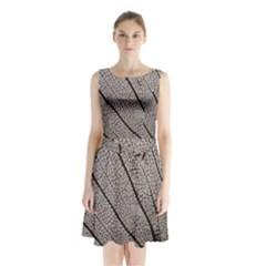 Sea Fan Coral Intricate Patterns Sleeveless Chiffon Waist Tie Dress