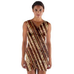 Udan Liris Batik Pattern Wrap Front Bodycon Dress