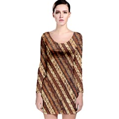 Udan Liris Batik Pattern Long Sleeve Velvet Bodycon Dress
