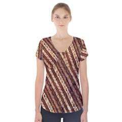 Udan Liris Batik Pattern Short Sleeve Front Detail Top