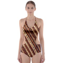 Udan Liris Batik Pattern Cut Out One Piece Swimsuit