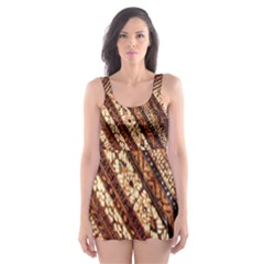 Udan Liris Batik Pattern Skater Dress Swimsuit