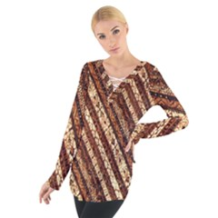 Udan Liris Batik Pattern Women s Tie Up Tee