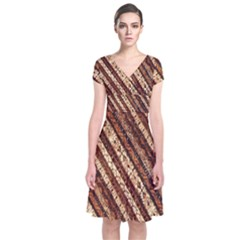 Udan Liris Batik Pattern Short Sleeve Front Wrap Dress
