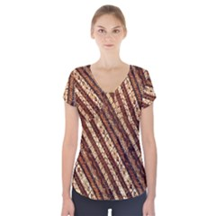 Udan Liris Batik Pattern Short Sleeve Front Detail Top
