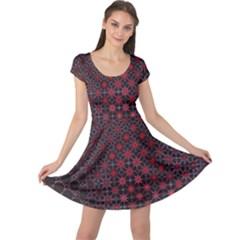 Star Patterns Cap Sleeve Dresses