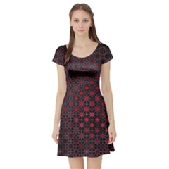 Star Patterns Short Sleeve Skater Dress