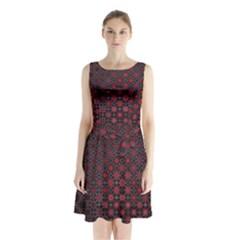 Star Patterns Sleeveless Chiffon Waist Tie Dress