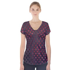 Star Patterns Short Sleeve Front Detail Top