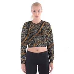 Trees Forests Pattern Women s Cropped Sweatshirt