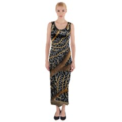 Trees Forests Pattern Fitted Maxi Dress