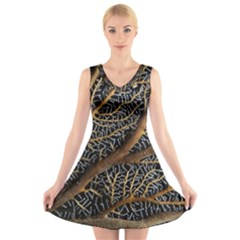 Trees Forests Pattern V Neck Sleeveless Skater Dress