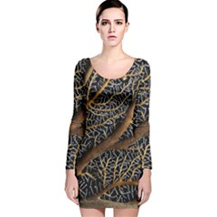 Trees Forests Pattern Long Sleeve Velvet Bodycon Dress