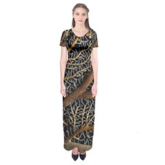 Trees Forests Pattern Short Sleeve Maxi Dress