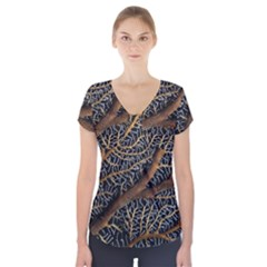 Trees Forests Pattern Short Sleeve Front Detail Top