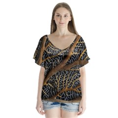 Trees Forests Pattern Flutter Sleeve Top