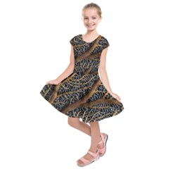 Trees Forests Pattern Kids  Short Sleeve Dress