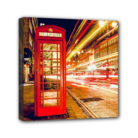 Telephone Box London Night Mini Canvas 6  X 6