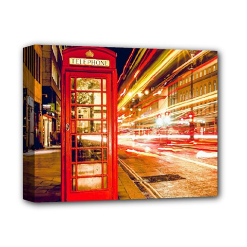Telephone Box London Night Deluxe Canvas 14  x 11