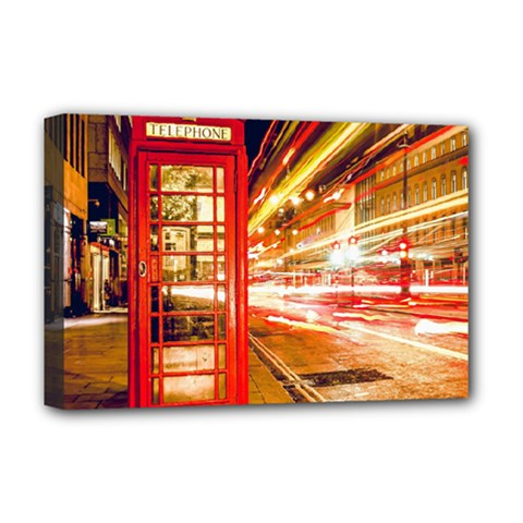 Telephone Box London Night Deluxe Canvas 18  X 12