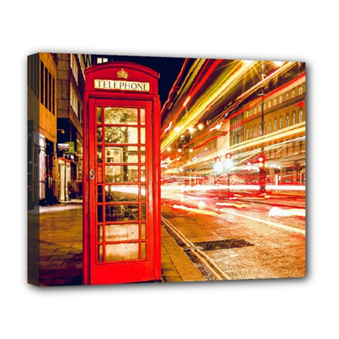 Telephone Box London Night Deluxe Canvas 20  x 16