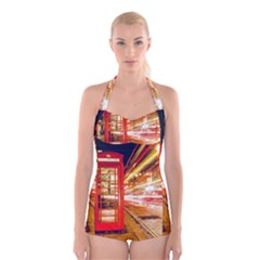 Telephone Box London Night Boyleg Halter Swimsuit