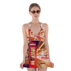Telephone Box London Night Halter Swimsuit Dress