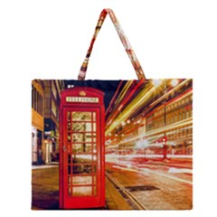 Telephone Box London Night Zipper Large Tote Bag