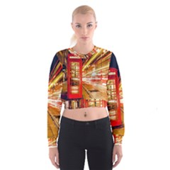 Telephone Box London Night Women s Cropped Sweatshirt